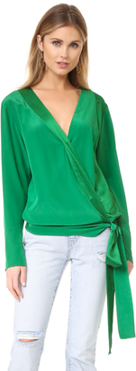 Diane von Furstenberg Long Sleeve Cross Over Blouse $248 thestylecure.com