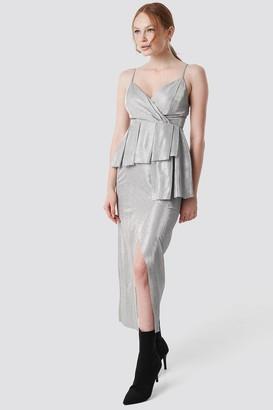 Trendyol Shiny Slit Maxi Dress Silver