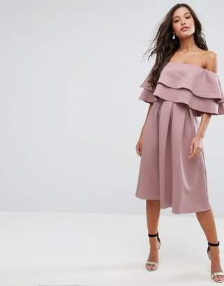 Asos Ruffle Off Shoulder Midi Dress