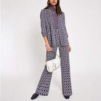 River Island Womens Blue print D-ring wide leg trousers