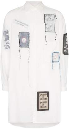 Yohji Yamamoto patch embroidered oversized shirt