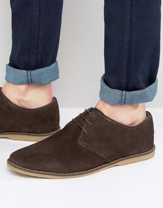 Asos Design Derby Shoes In Brown Suede With Piped Edging