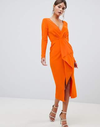 Asos DESIGN long sleeve waterfall deep plunge midi dress