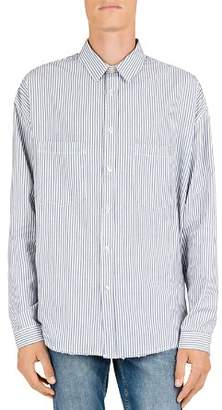 The Kooples Striped Distressed Denim Regular Fit Button-Down Shirt