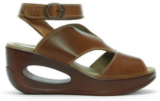 Fly London Hibo Tan Leather Ankle Strap Wedge Sandals