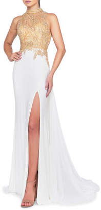 Mac Duggal Beaded Illusion High-Neck Sleeveless Gown with Thigh Slit