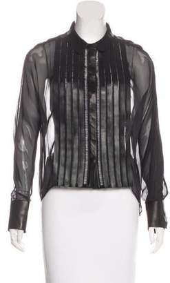 Jitrois Leather-Trimmed Silk Top w/ Tags