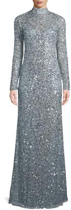 Neiman Marcus Parker Black Leandra Sequin High-Neck Long-Sleeve Gown