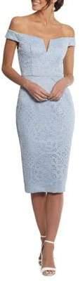 Xscape Evenings Petite Off-The-Shoulder Laser Cut Sheath Dress