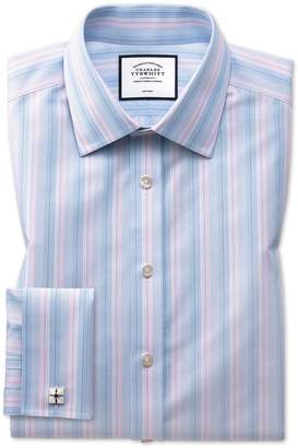 Charles Tyrwhitt Extra Slim Fit Non-Iron Pink and Blue Multi Stripe Cotton Dress Shirt French Cuff Size 14.5/32