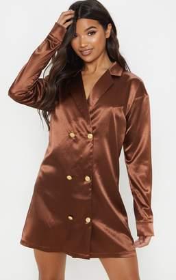 08a0440712071 PrettyLittleThing Fuchsia Satin Button Blazer Dress