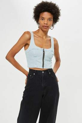 Topshop Bleach Denim Zip Bralet