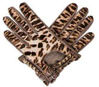 Valentino Leather Rockstud Gloves