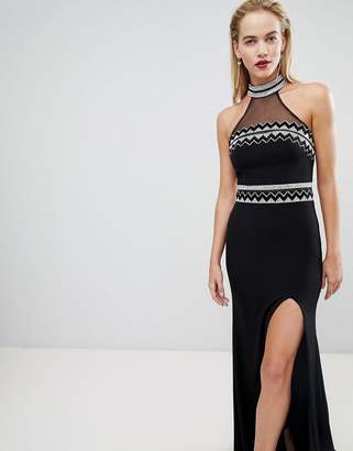 Forever Unique Embellished Halter Neck Maxi Dress
