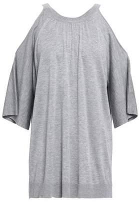 Halston Cold-shoulder Knitted Top