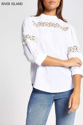 River Island Womens White Gilly Lace Insert Poplin Top - White