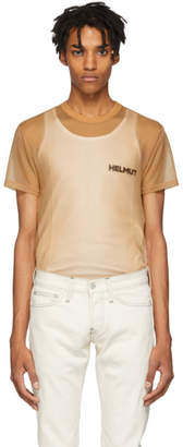 Helmut Lang Tan Sheer Brian Roettinger Logo Hack T-Shirt