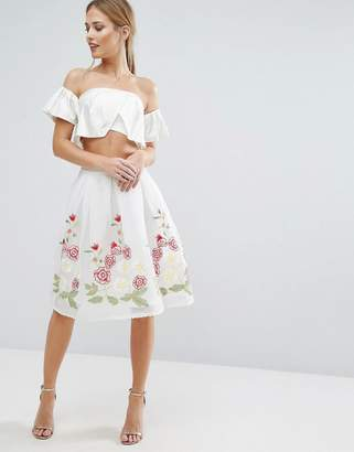 Endless Rose Midi Skirt with Embroidered Hem