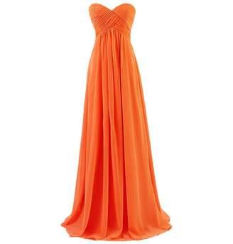medon's Women's Strapless Sweetheart Long Chiffon Bridesmaid Prom Dresses US Mint Green