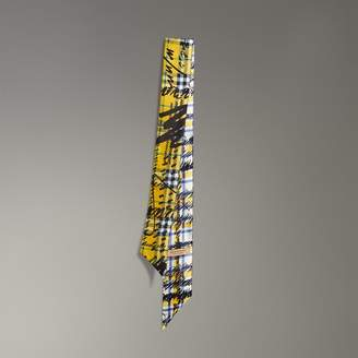 Burberry Scribble Check Silk Slim Scarf