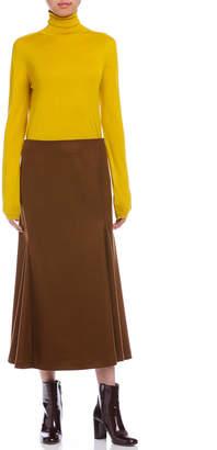 Jil Sander (ジル サンダー) - Jil Sander DOCILE サイドラッフル風 デザインフレアスカート ブラウン 32