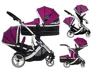Combi Kids Kargo Duellette 21 BS Tandem double Twin pushchair Travel system Pram Raspberry