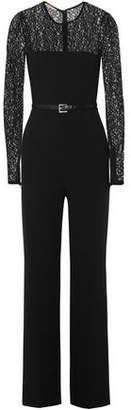 Michael Kors Lace-Paneled Belted Wool-Blend Jumpsuit
