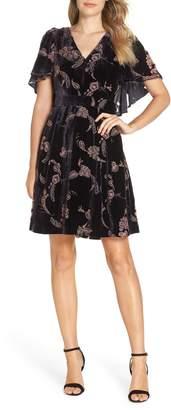 Eliza J Velvet Cape Sleeve Dress