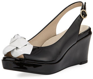 Taryn Rose Star Patent Flower Slingback Wedge Sandal $175 thestylecure.com