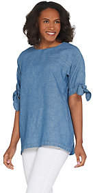 Martha Stewart Elbow-Sleeve Woven Blouse withTie Detail