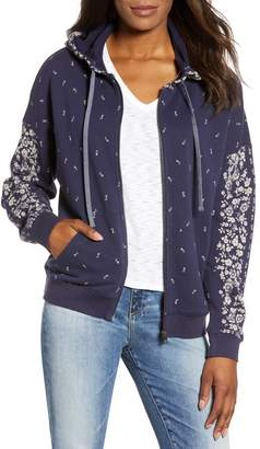Lucky Brand Floral Placed Zip Hoodie