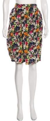 Megan Park Floral Silk Skirt