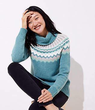 LOFT Fairisle Turtleneck Sweater