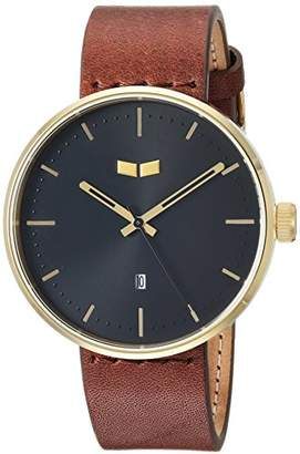 Vestal 'Roosevelt Italian' Quartz Stainless Steel and Leather Dress Watch