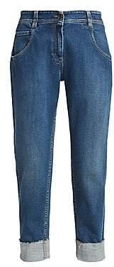 Brunello Cucinelli Women's Relax-Fit Stretch Rolled Cuff Jeans