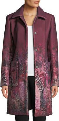 Elie Tahari Tindra Single-Breasted Degrade Animal-Print Wool-Blend Coat