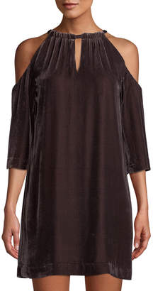 Trina Turk Eden Velvet Cold-Shoulder Shift Dress