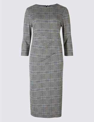 Marks and Spencer Cotton Blend Checked Twist Side Pencil Dress