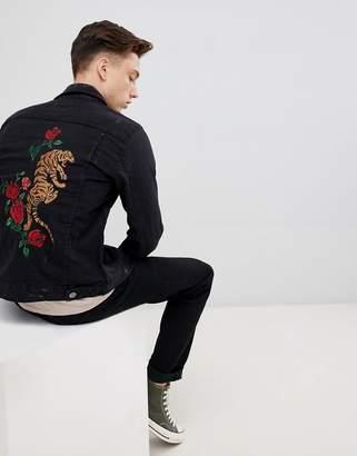 Brave Soul Black Denim Jacket With Tiger Embroidery