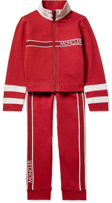 Moncler Ages 4 - 6 Grosgrain And Shell-trimmed Cotton-blend Jersey Tracksuit