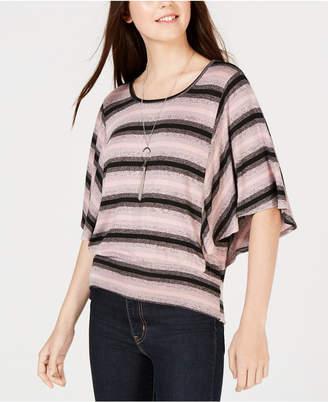 BCX Juniors' Striped Flutter-Sleeve Top & Necklace