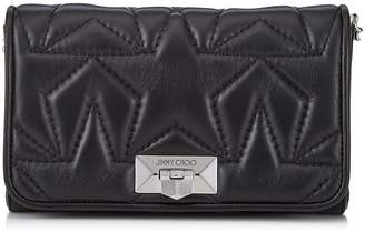 Jimmy Choo HELIA CLUTCH Black and Silver Leather Clutch with Chain Strap