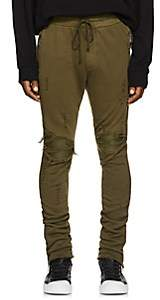 Amiri Men's MX1 Leather-Inset Cotton Sweatpants - Olive