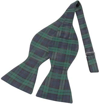 Forzieri Green & Blue Plaid Printed Silk Self-tie Bowtie