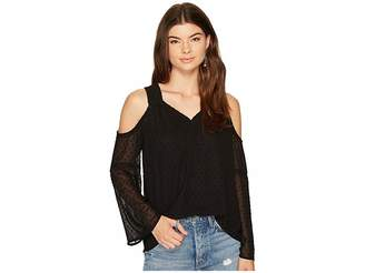 Kensie Looped Dots Cold Shoulder Top KS8K4307 Women's Clothing