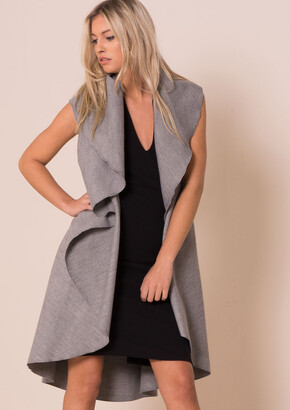 Missy Empire Missyempire Zandra Grey Waterfall Sleeveless Coat