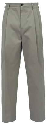 Raf Simons Relaxed Fit Cotton Chino Trousers - Mens - Grey