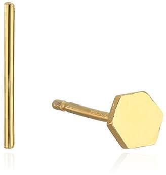 Tai Mix Match Hexagon and Stick Post Stud Earrings