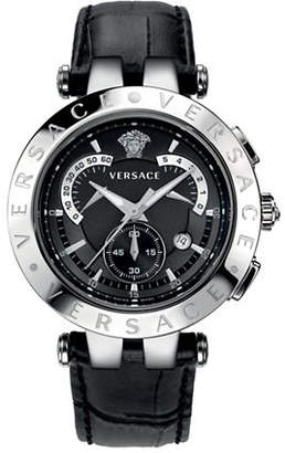 Versace V-Race Chronograph Silvertone and Black Leather Strap Watch