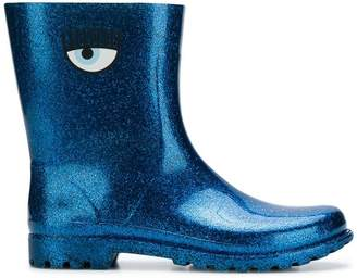 Chiara Ferragni glitter eye printed boots